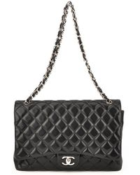 Chanel Authentic Pre-owned Black Quilted Lambskin Maxi Flap Bag - Lyst