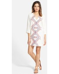 Hinge - Embroidered Tunic Dress - Lyst