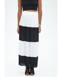 Forever 21 Pleated Striped Maxi Skirt - Lyst