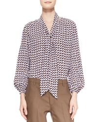Marc Jacobs Long Sleeve Slice Print Tie Front Blouse - Lyst