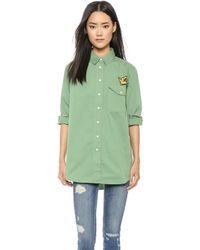 Être Cécile Oversized Shirt With Badges - Sage Green - Lyst