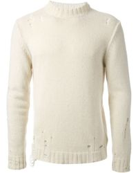 Diesel White Distressed Sweater - Lyst
