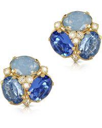 Forzieri Blue Crystal Clip-On Earrings - Lyst