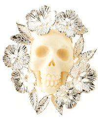 Zoe & Morgan Floral Skull Motif Ring - Lyst