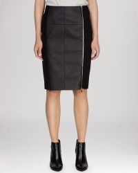 Karen Millen Skirt Textured Jersey  Faux Leather - Lyst