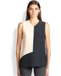 Narciso Rodriguez Silk Charmeuse Colorblock Blouse - Lyst