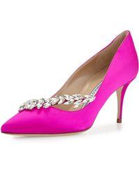 Manolo Blahnik - Nadira Embellished Satin Court Shoes - Lyst