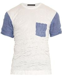 Issey Miyake Contrast-Panel Cotton-Blend T-Shirt - Lyst
