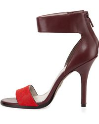 Pour La Victoire Yara Two-Tone Ankle-Wrap Sandal - Lyst