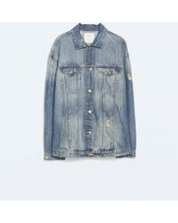 Zara Oversized Denim Jacket - Lyst