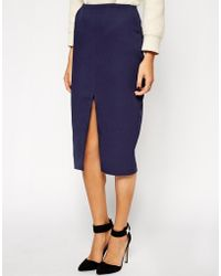 Asos Quilted Split Front Pencil Skirt - Lyst