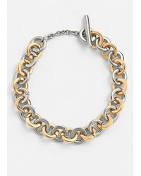 Tory Burch 'Sculpted' Two-Tone Link Bracelet - Shiny Gold/ Tory Silver - Lyst