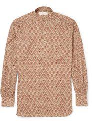 Saint Laurent Paisley-Patterned Cotton Grandad-Collar Shirt - Lyst