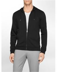 Calvin Klein White Label Classic Fit Lightweight Zip Front Hoodie black - Lyst