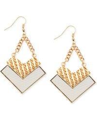 Guess Gold-Tone Textured Arrow Drop Earrings - Lyst