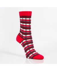 Paul Smith Red Check-Stripe Socks - Lyst