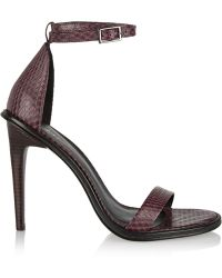 Tibi Amber Snake-Effect Leather Sandals - Lyst