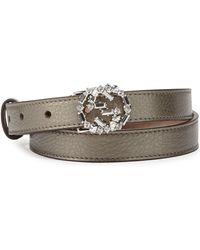 Gucci Crystalggbuckle Skinny Belt - Lyst