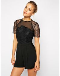 Asos Playsuit With Lace Detailing - Lyst