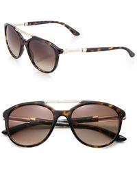 Giorgio Armani 53Mm Acetate Aviator Sunglasses brown - Lyst