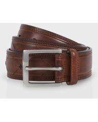 Paul Smith Brown Hand-Stitched Leather Belt - Lyst