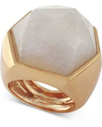 Vince Camuto - Rose Gold-tone Angular White Stone Statement Ring - Lyst