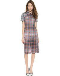 Victoria Beckham Long 4 Pocket Shirtdress - Multi Check Large - Lyst