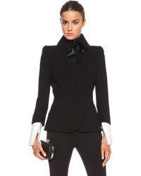 Alexander McQueen Double Wool Crepe Bow Tie Jacket - Lyst