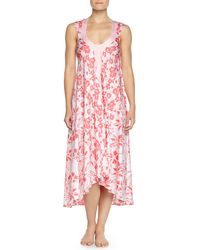 Oscar de la Renta Tiger Lily-Print High-Low Nightgown - Lyst