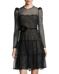 Valentino Longsleeve Structured Mesh Dress - Lyst
