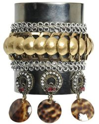 Erickson Beamon Rigid Bracelet With Rhinestones And Shells - Lyst