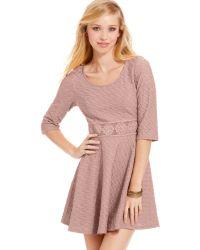 American Rag - Textured Crochet Knit Trim Skater Dress - Lyst