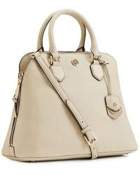 Tory Burch Robinson Pebbled Open Dome Satchel - Lyst