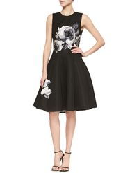 Lela Rose Rose-Embroidered Fit-And-Flare Dress - Lyst