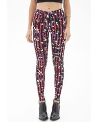 Forever 21 Abstract Print Striped Leggings - Lyst
