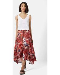 Topshop Slit Floral Maxi Skirt red - Lyst