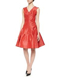 Zac Posen Taffeta Seamed Flounce Dress - Lyst