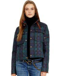 Polo Ralph Lauren Leather Trim Tartan Jacket - Lyst