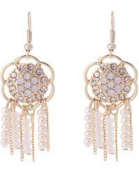 Oasis Flower And Tassle Mini Drop Earrings - Lyst