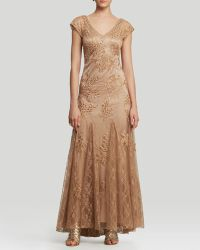 Sue Wong - Gown  Cap Sleeve Double Vneck Beaded Godet - Lyst