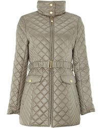 Ellen Tracy - Quilted Belted Coat - Lyst