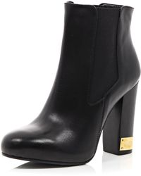 River Island Black Heeled Chelsea Boots - Lyst