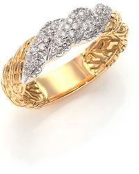 John Hardy Classic Chain Diamond & 18K Yellow Gold Twisted Band Ring gold - Lyst