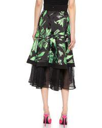 J. Mendel Noir Net Flare Skirt - Mint - Lyst