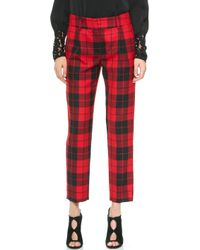 Milly Tartan Nicole Pants  Red - Lyst