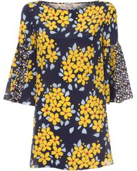 Suno | Navy Floral Print Flutter Sleeve Tunic | Lyst