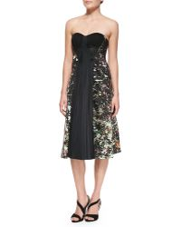 J. Mendel Strapless Drapefront Dress - Lyst