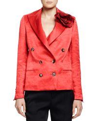 Lanvin Silk Jacket with Rosette - Lyst
