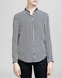 The Kooples Shirt - Stripe Silk Crepe De Chine Leather Collar - Lyst