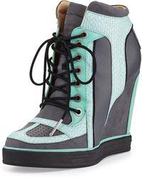 L.a.m.b. Summer Snakeprint Wedge Sneaker - Lyst